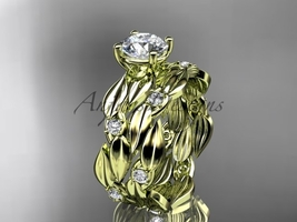 Leaf engagement ring set, 14kt yellow gold diamond leaf wedding set ADLR58S - $1,620.00