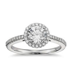 2.50CT Forever One Moissanite Halo VSF Engagement Ring 14K White Gold  - $1,569.50