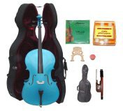 Lucky Gifts 1/2 Size BLUE Cello,Hard Case,Soft Bag,Bow,Strings,Tuner,2 Bridges