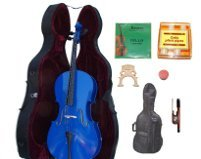 Lucky Gifts 3/4 Size BLUE Cello,Hard Case,Soft Bag,Bow,Strings,Tuner,2 Bridges