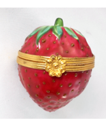 Limoges Box - Tiffany Red Ripe Strawberry with Seeds & Stem - Fruit - Pe... - $120.00