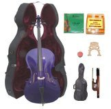 Lucky Gifts 3/4 Size PURPLE Cello,Hard Case,Soft Bag,Bow,Strings,Tuner,2 Bridges