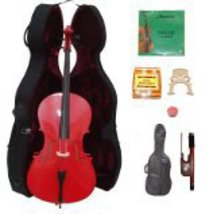 Lucky Gifts 3/4 Size RED Cello,Hard Case,Soft Bag,Bow,Strings,Tuner,2 Br... - $265.20