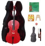 Lucky Gifts 1/2 Size RED Cello,Hard Case,Soft Bag,Bow,Strings,Tuner,2 Bridges