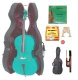 Lucky Gifts 3/4 Size GREEN Cello,Hard Case,Soft Bag,Bow,Strings,Tuner,2 Bridges