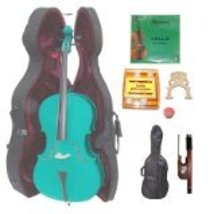 Lucky Gifts 3/4 Size GREEN Cello,Hard Case,Soft Bag,Bow,Strings,Tuner,2 ... - $265.20