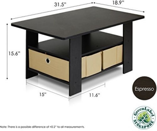 Furinno Coffee Table Decor Compliment Furniture  With Bins Espresso Brown Hard