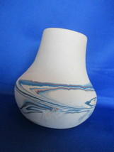 "5 "" Nemadji Hand Painted Blue, Brown.  Orange Vase - $12.99"