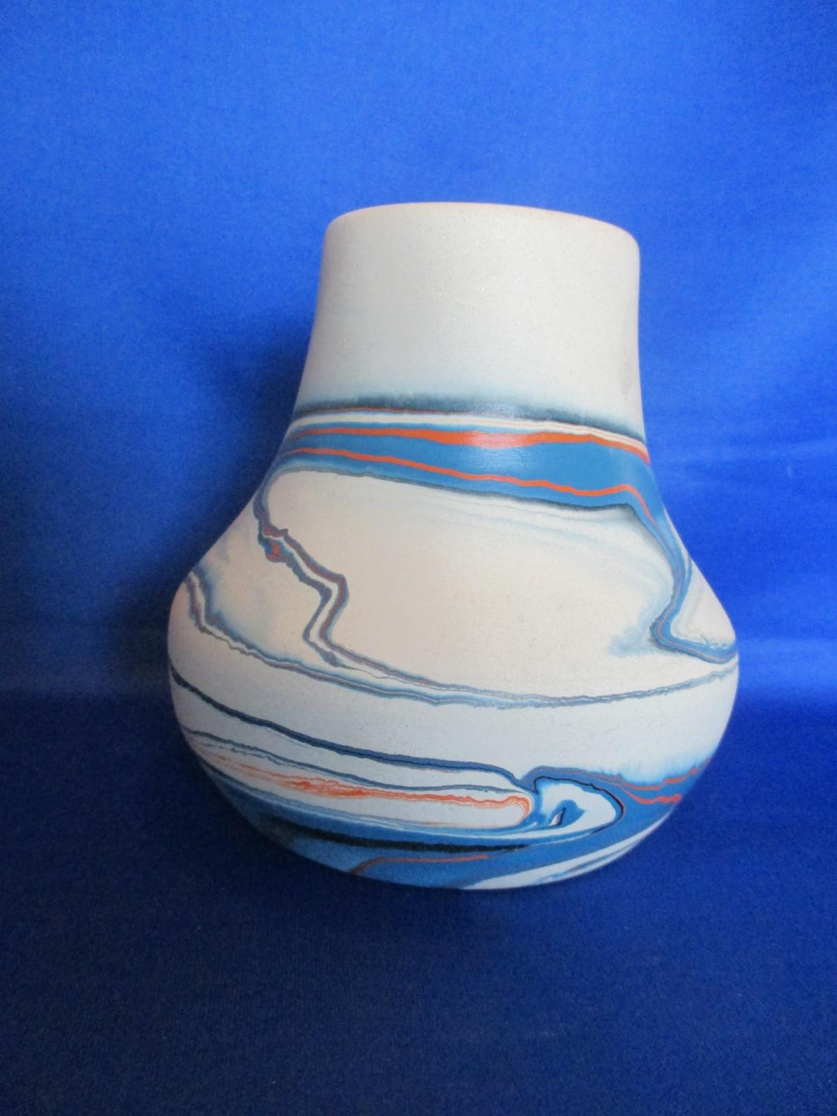 "5 "" Nemadji Hand Painted Blue, Brown.  Orange Vase"