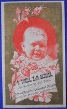 C.R Dimick Hair Dresser East Boston Smiling Baby Victorian Trade Card Bu... - $8.90