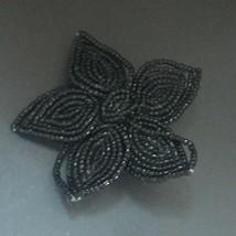 Estate Large Tiny Black Bead Beaded Flower Power Hippie Pin Brooch – 2.7... - $14.89