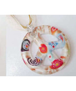 Murano Lampwork Glass White Peace Sign Necklace  - $9.95