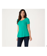Isaac Mizrahi Live! Short-Sleeve Seamed Peplum Knit Top Green Turquoise ... - $14.17