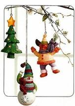 Home Interiors Snowman/Moose Tree Ornaments Set/3 Seasonal NEW HOMCO HIG... - $12.86