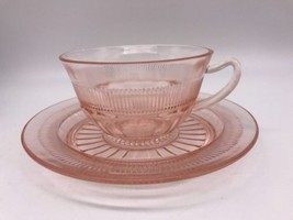 Vintage Depression Anchor Hocking Coronation Cup And Saucer (1009E) - $8.60