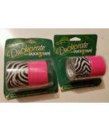 2 Sets Duckorate Zig Zag Zebra / Pink Duct Tape 1.42 X 5 Yards Pr Roll - $9.89
