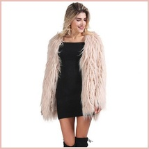 Long Shaggy Hair Blush Pink Angora Sheep Faux Fur Medium Length Coat Jacket