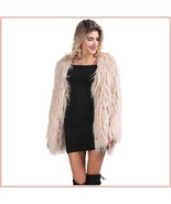 Long Shaggy Hair Blush Pink Angora Sheep Faux Fur Medium Length Coat Jacket - $138.95