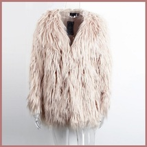 Long Shaggy Hair Blush Pink Angora Sheep Faux Fur Medium Length Coat Jacket image 2