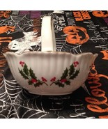 Vintage RH Macy & Co All the Trimmings Holly Berry Gold Trim Christmas B... - $22.99