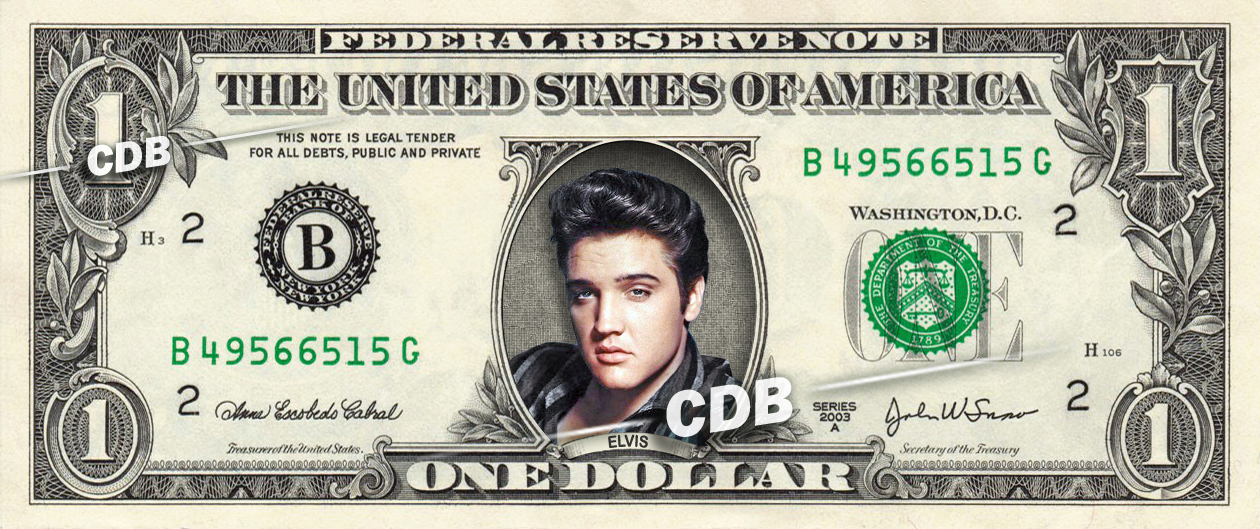 Primary image for ELVIS PRESLEY on a REAL Dollar Bill Cash Money Collectible Celebrity Memorabilia