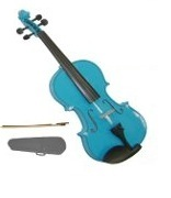 Lucky Gifts 1/10 Size Beginner, Student Violin with Case and Bow ~ Blue