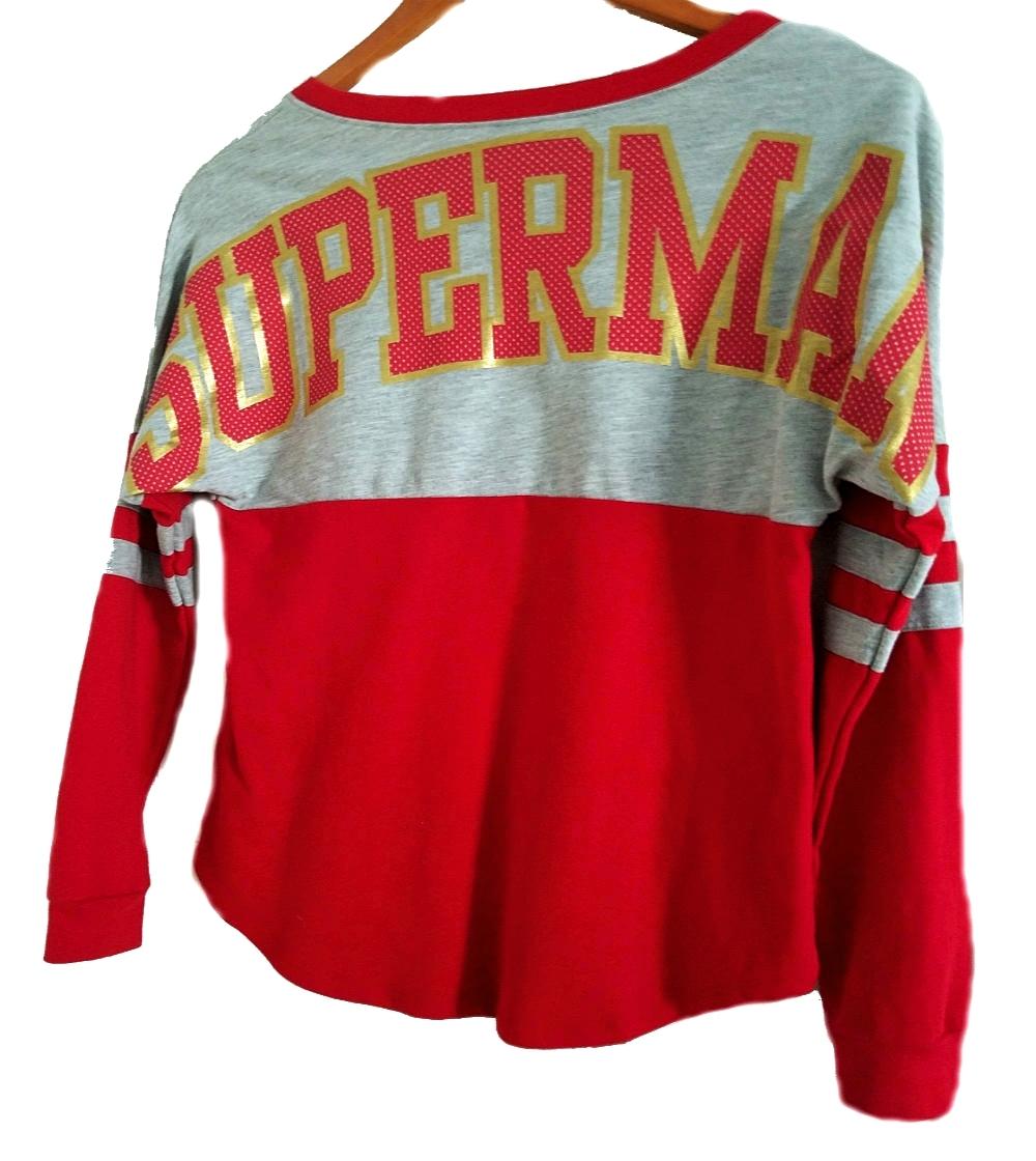 DC Comics Superman Logo Long Sleeve Junior Women's Two-Tone T-Shirt Tops S(3/5)