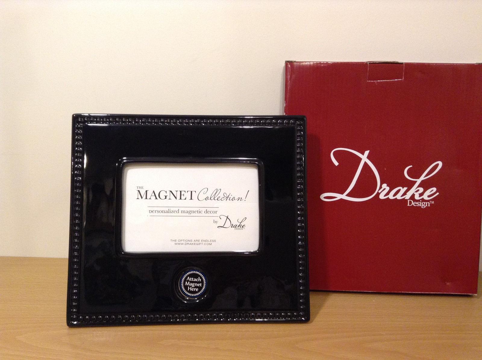 Black Ceramic Photo Frame with Magnetic spot for magnet by Drake design, New