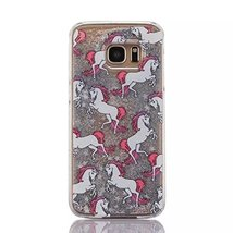 Galaxy S7 Liquid Case,Rainbow Purple Horse Print Flowing Liquid Floating... - $9.79
