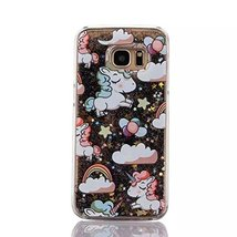 Galaxy S7 Liquid Case,Rainbow Unicorn Horse Print Flowing Liquid Floatin... - $9.79