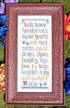 Kids Leave Handprints cross stitch chart My Big Toe Designs - $10.00