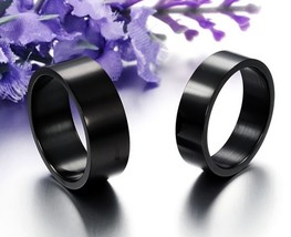 US 2Pcs Smooth Black Titanium Steel Couples Ring Set Wedding Band Promis... - $324,26 MXN