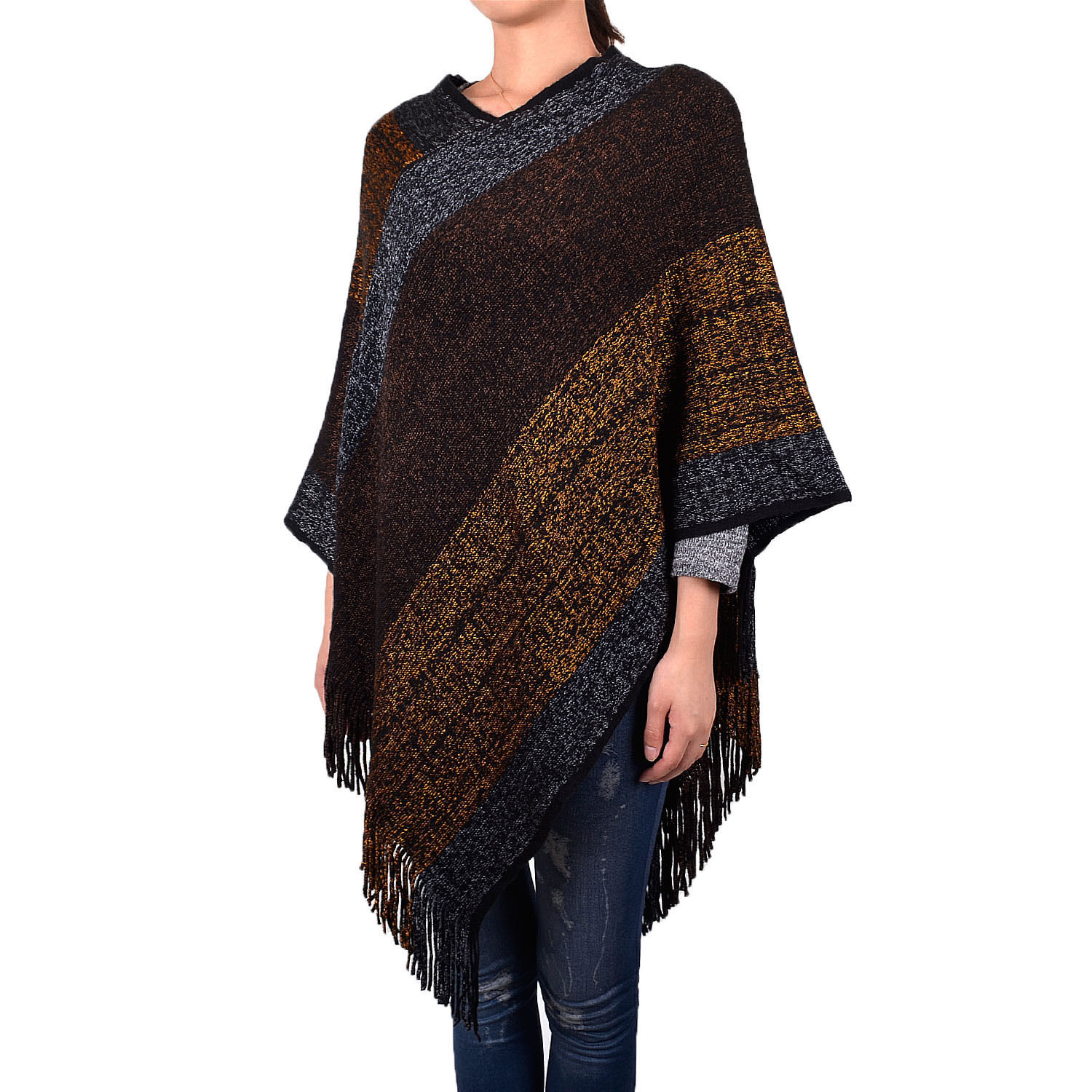 Primary image for Women's Fashion Striped Multi Color Knitted Tassel Shawl Poncho Batwing