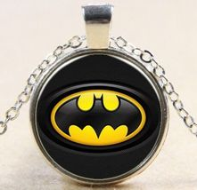 Vintage Superhero Batman Cabochon Silver Glass Chain Pendant Necklace - $7.00