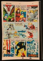 Iron Man #114 1978 Marvel original color guide art Avengers Cap Wanda Battle! - $69.76
