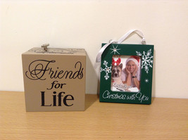 "2 pcs Lot: Music box ""Friends for Life"" and Photo Frame ""Christmas with You"""