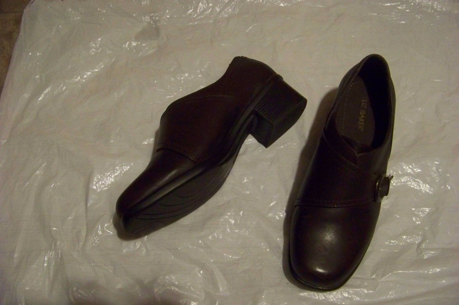 2c5cf7b96e18a womens liz baker brown leather slip on heels shoes size 8 1 2 -  20.78