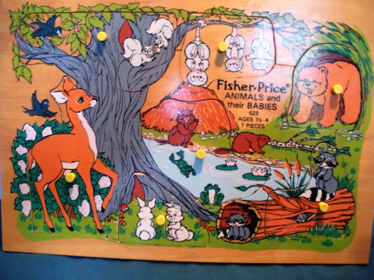 Vintage Fisher Price Pick-Up and Peek #523 Animals and their Babies VG+-VG++!