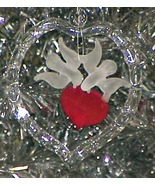 1982 Glass Christmas Ornament HEART & DOVES - $6.99