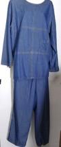 Vintage Denim Pantsuit Tunic Top Pants Blue Jean Large L Biel Bonne - $29.69