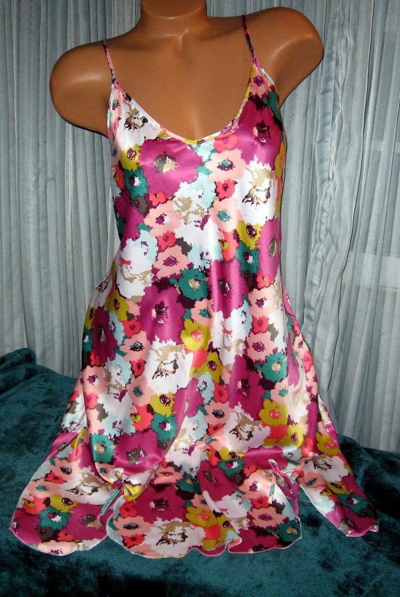 Mixed Floral Chemise Short Gown 1X Plus Size Adjustable straps