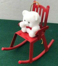 Vintage Avon Collectible Christmas Ornament Teddy on Rocker With Box - $4.90