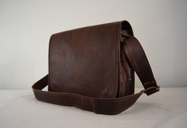 "Men's Brown Leather Padded 15"" Macbook Laptop Satchel CrossBody Messenge... - $75.64"