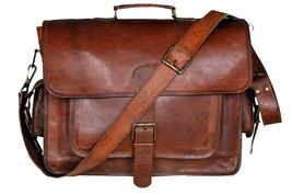 New Men's genuine vintage leather brown messenger shoulder computer laptop bag . - $64.09