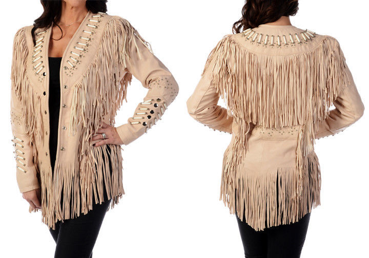 QASTAN WOMEN'S NEW BEIGE FRINGED/BONE/BEADS/BEADS SUEDE LEATHER JACKET WWJ24A