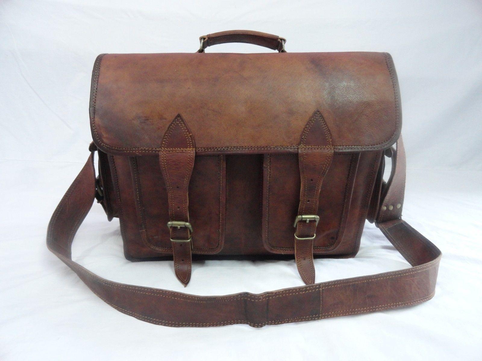 16x12' Men's Vintage Leather DSLR Camera Bag Padded Briefcase Macbook Satchel