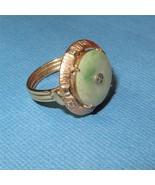 Vintage Art Deco 14K Gold Jade Diamond Ring Bi-... - $672.21