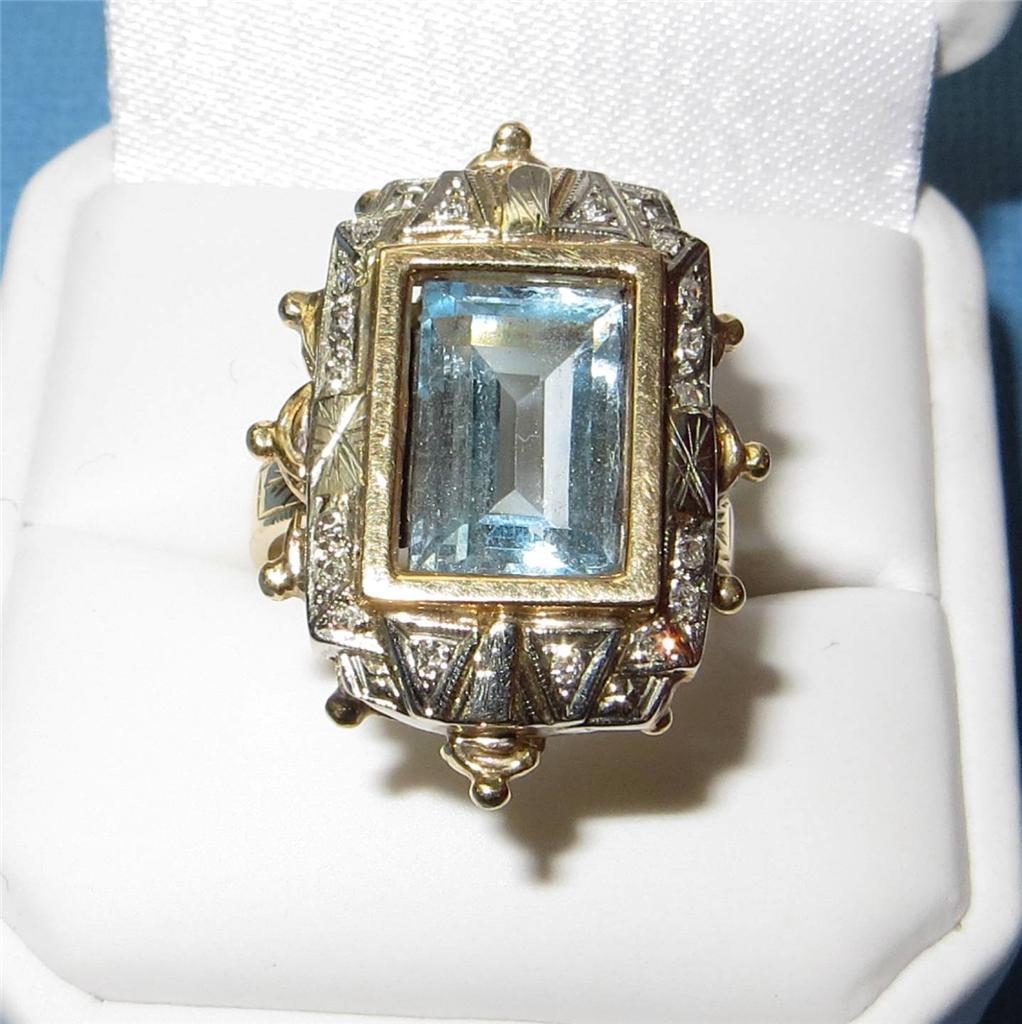 Antique Art Deco Ring 14K Gold Aquamarine Diamond Ring Spectacular Aquamarine
