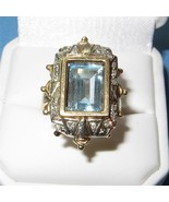 Antique Art Deco Ring 14K Gold Aquamarine Diamond Ring Spectacular Aquam... - $2,079.00