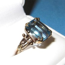 Vintage Art Nouveau 14K Gold and Blue Topaz Ring Size 6.5 Rectangle Cut ... - $791.01